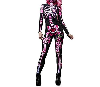 snaked cat Disfraz de Halloween para Mujer, Calavera Rosa, Mono de ...