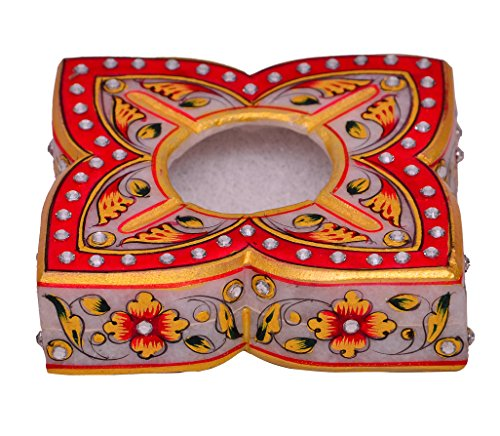 Purpledip Indian gift item: Handpainted Marble Ashtray (10573)