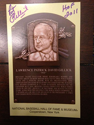 Hall Of Fame Plaque - Pat Gillick Autographed Hall of Fame Gold Plaque Postcard