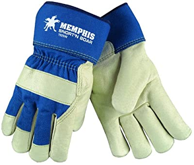MCR Safety 1925WS Snort-N-Boar Premium Grain Pigskin Leather Palm Men's Gloves with Rubberized Cuffs and Wool Lining, Cream/Blue, Small, 1-Pair