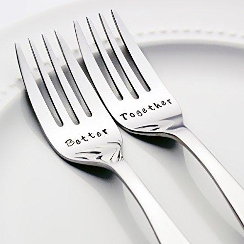 Better / Together - Stamped Fork Set, Stamped Wedding Silverware for Wedding Cake (Goodies Basket Ideas)