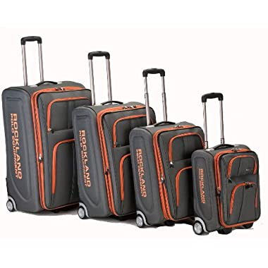 Rockland Luggage Varsity Polo Equipment 4 Piece Luggage Set, Charcoal, One Size