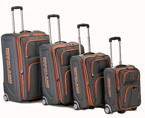 Rockland Luggage Varsity Polo Equipment 4 Piece Luggage Set, Charcoal, One Size (4 Piece Set Luggage)