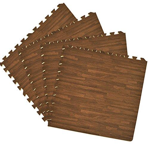 Algodon Double Border (Ben&Jonah Collection Interlocking Foam 24x24 Anti Fatigue Floor Tiles 4 tiles/16 Sq. Ft. - Walnut)
