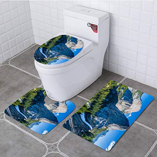 BEISISS Bathroom 3 Piece Set View from John Muir Trail Soft Flannel Cloth Washable Toilet Seat Covers Toilet Lid Covers Cushions Pads Skid Proof Bathroom