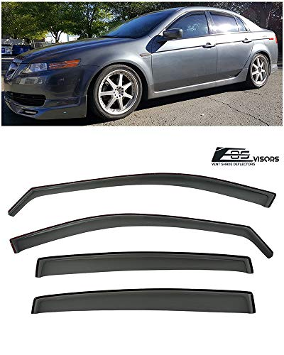Extreme Online Store for 2004-2008 Acura TL | EOS Visors JDM in-Channel Style Smoke Tinted Side Vents Window Deflectors Rain Guard ()