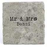 Mr & Mrs Benzi - Single Marble Tile Drink Coaster