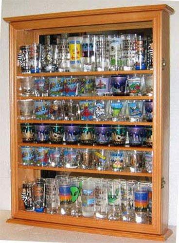 Oak Large 72 Shot Glass Display Case Wall Shelf Holder Cabinet Mirror Back by Display Case