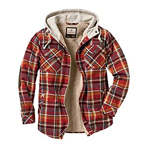 Legendary Whitetails Men's Camp Night Berber Lined Hooded Flannel Shirt Jacket