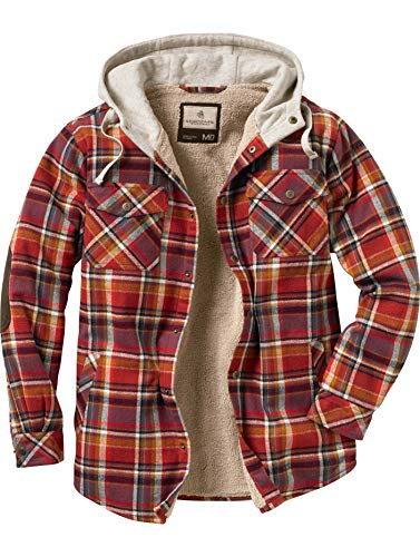 Legendary Whitetails Camp Night Hooded Flannel Cardinal Red Plaid Large