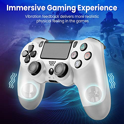 Medvoe Wireless Game Controller for PS4, Built-in 1000mAh Battery/Speaker/Gyro/Motor Joystick Remote Gamepad for Playstation 4/Slim/Pro Console - Glacier White