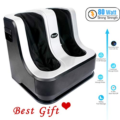 77tech Electric Shiatsu Foot and Calf Leg Massager Machine with Heat,Kneading, Rolling and Relaxation Air Compression Functions for Pain Relief,80 W, 4 Motors,Gray/Black