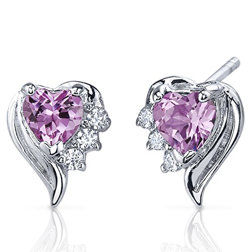 Created Pink Sapphire Earrings Sterling Silver Heart Shape CZ Accent