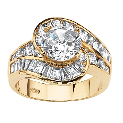 14K Yellow Gold over Sterling Silver Round Cubic Zirconia and Baguette Cut Swirl Engagement Ring Size 5 (Round Brilliant With Tapered Baguettes Engagement Ring)