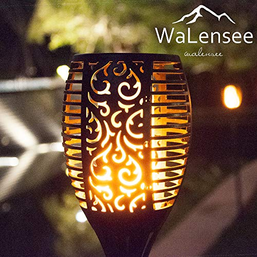 Walensee Solar Lights Outdoor Upgraded, Waterproof Flickering Flames Torch Lights Outdoor Solar Spotlights Landscape Decoration Lighting 96 LED Dusk to Dawn Auto On/Off Security Torch Light (4 Pack) by Walensee (Image #8)