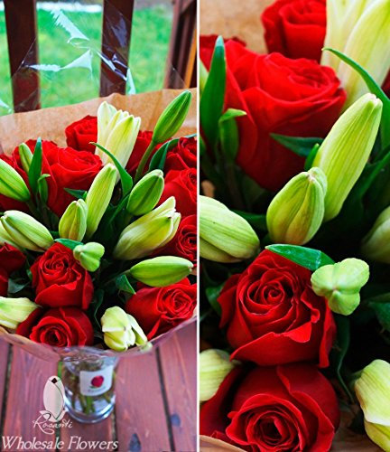 Rosanti Fresh Bouquets | 20 Beautiful Flowers | Roses, Asiatic Lilies | Free Delivery