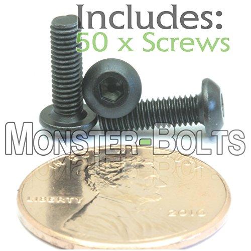 (50) M3-0.50 x 10mm - Button Head Socket Cap Screws ISO 7380 / DIN 9427 Class 12.9 Black Alloy Steel w Black Oxide - MonsterBolts (50, M3 x 10mm)