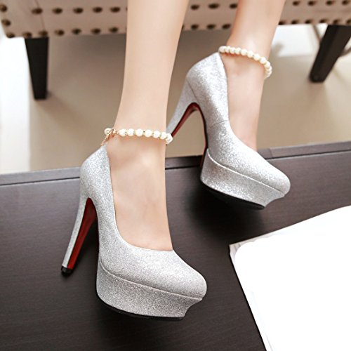 AIYOUMEI Damen Glitzer High Heels Pumps mit Knöchelriemchen Plateau Pumps mit Perlen Hochzeit Abendschuhe Silber