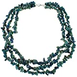 Azurite Three Row Chip Fashion Necklace with Sterling Silver Clasp Jewelry for Women