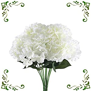 MHMJON 2pcs 6 Big Artificial Silk Hydrangea Fake Flowers Arrangenment Indoor Outdoor Wedding Bouquets Home Kitchen Office DIY Hotel Table Decoration White 44