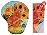 Van Gogh Sunflowers Ergonomic Design Mouse Pad with Wrist Support. Gel Hand Rest. Matching Microfiber Cleaning Cloth for Glasses, Cars & Electronics. Mouse Pad for Laptop, PC Computer and Mac.