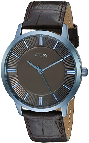 GUESS Men's U0664G3 Dressy Blue Watch with Plain Brown Dial  and Genuine Leather Strap Buckle