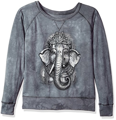 The Mountain Grey Ganesh Adult Woman's Slouchy Crew Shirt, Grey, Large