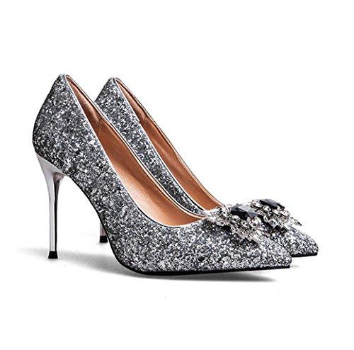 Paillettes Shallow hauts Silver WSK Heels Shine Chaussures de Chaussures de Sexy pour à femmes Diamond Black soirée Chaussures Chaussures Thin talons High Tips mariage Chaussures wxCC0SqYp7
