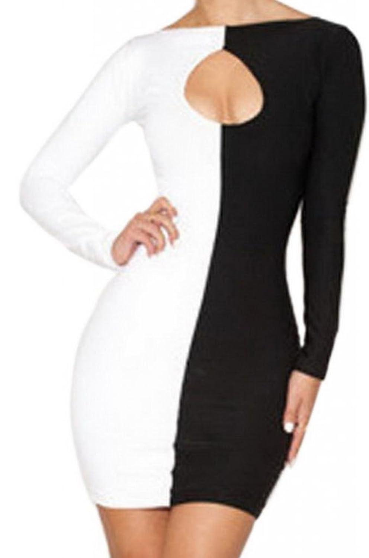 EOZY Weiß/Schwarz Minikleid Kleider Festkleider Abendkleid