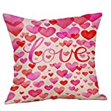 Valentine's Day Pillow Cover Valentine's Day Home Decor Pillowcase Square Flax Cushion Cases 18x18 inch (J)