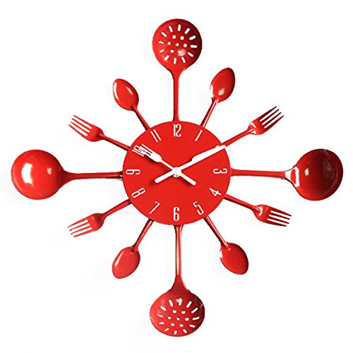 UNIQUEBELLA Metal Kitchen Cutlery Utensil Wall Clock Spoon Fork Home Decor Wanduhr horloge murale Red