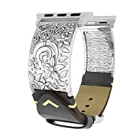 Compatible with Apple Watch Bands 38mm Women Men, 3D Floral Vintage Genuine Leather Compatible with iWatch Replacement Straps, Handmade Wristband Compatible with iWatch Series 3, 2, 1