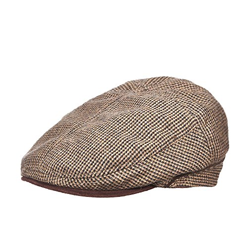 New Stetson Classic Collection Wool Blend Tweed Ivy Cap With Suede Peak (STW211) (MEDIUM) (New Suede Newsboy Hat)
