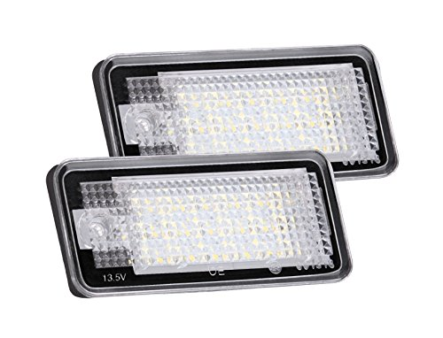 AGPTEK 2-Pack LED License Plate Lamps for Audi A3 A4 A6 A8 S6 Q7 RS4 RS6 Plus etc, Daylight ()