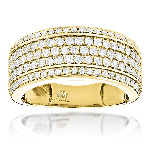 Luxurman 14K Mens Natural 1.5 Ctw Diamond Wedding Band Unique Designer Ring (Yellow Gold Size 11) 18k Yellow Gold Designer Band