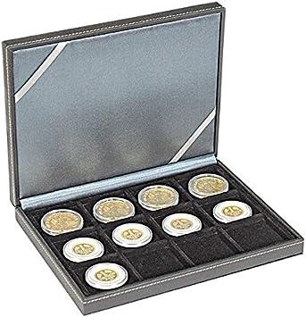 Estuche monedas NERA XM [Lindner 2363-12], 12 compartimentos cuadrados para monedas o cápsulas con un diámetro de hasta 52 mm: Amazon.es: Juguetes y juegos