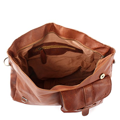 Vintage College Brown 38x28x12cm Leather Bag Le3032 Men Messenger Women Briefcase Genuine Cow Shoulder Waxy Leconi Rz8A1qwO