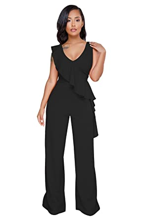 450902cb1bf Betty-Boutique New Black Asymmetric Ruffle Trim Wide Leg Jumpsuit Size 10-12   Amazon.co.uk  Clothing