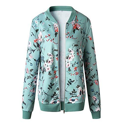 Outwear Floral Ladies Abrigos Zipper Jacket Up Elegantes Mujer Grande Bomber Retro Rebajas Verde Invierno Casual Talla Hnn6Y4W8g