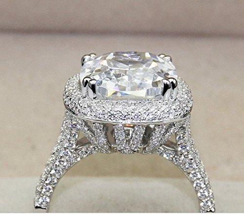 Gowe Luxe Bijoux en or Bague Diamant King 8carat Lab Cultivées Ascd Diamant Coupe Coussin Halo Bijoux Bague de fiançailles Bagues de mariage
