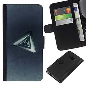 KLONGSHOP // Tirón de la caja Cartera de cuero con ranuras para tarjetas - Triángulo abstracto - HTC One M9 //