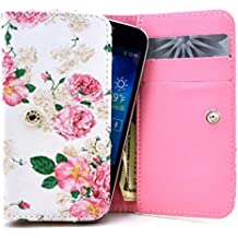 HTC Rhyme Case,Universal Wallet Clutch Bag Carrying Fold Leather Smartphone Case with Buckle Card Slot for HTC Rhyme 3G-Rose Flowers Floral Style