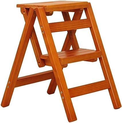 Taburete Plegable Escalera de Madera de 2 peldaños Biblioteca de múltiples Funciones Antideslizante Sala de Estar del Dormitorio Fácil de almacenar 38 X 46 X 50cm (Color : Brown): Amazon.es: Hogar