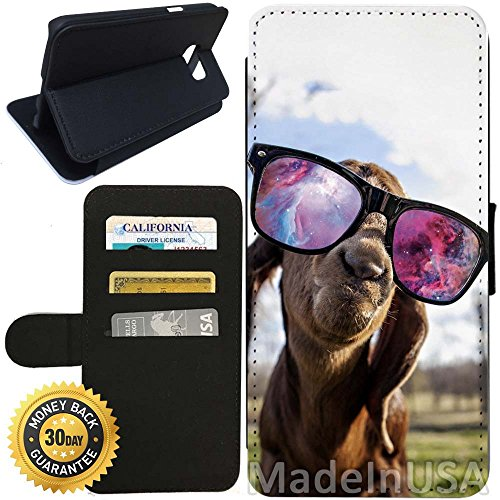 Flip Wallet Case for Galaxy S7 (Hipster Goat With Sunglasses Nebula) with Adjustable Stand and 3 Card Holders | Shock Protection | Lightweight | Includes Stylus Pen by - Sunglasses Ebay Coach