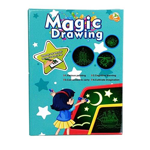 Freezelight Magic Luminescent Drawing Kits Kids Glow Pad Light Marker, Spy Pen, Two Stencils, Stars Glow Stickers. Big Size A3.