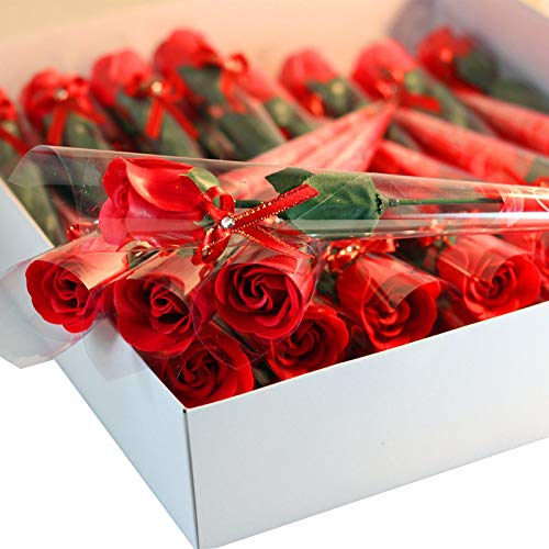 (Mikilon 30 Pcs Single Stem Artificial Rose Soap Handmade Flower Bouquet Bath Soap Rose Flower Petal, Gift for Valentine's Thanksgiving Day, Party Decoration (Red))