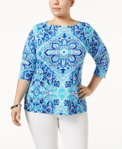 (Charter Club Womens Plus Matte Jersey Printed Casual Top Blue 3X)