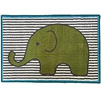 Bacati Elephants Nylon High Pile Plush Rug, Aqua/Lime/Grey, 24 X 36