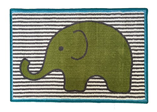 Bacati-Elephants-Nylon-High-Pile-Plush-Rug-AquaLimeGrey-24-X-36