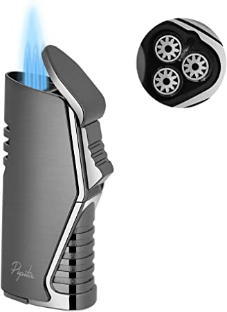 PIPITA Windproof Cigar Lighter, Refillable Butane Cigarette Lighter Portable Tool with Cigar Punch and Fuel Window